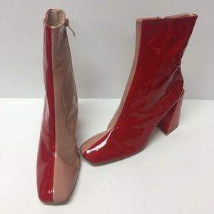 Nasty gal two tone square block boots 8.5
